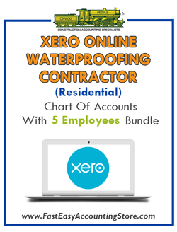 Watreproofing Contractor Residential Xero Online Chart Of Accounts With 0-5 Employees Bundle