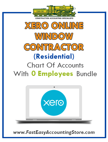 Window Contractor Residential Xero Online Chart Of Accounts With 0 Employees Bundle