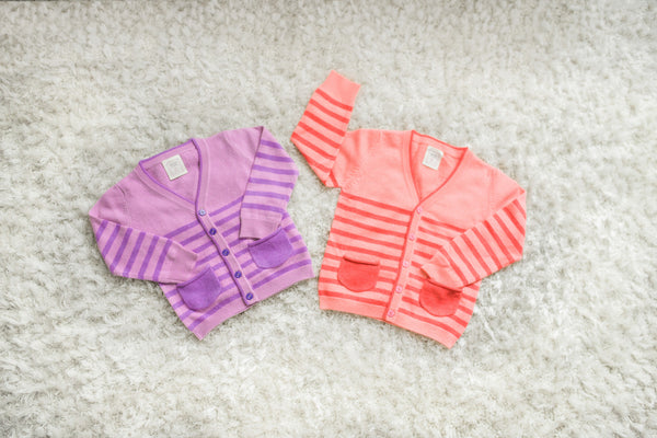 Marshmallow Girls V-necked 100% Cashmere Stripe Cardigan - Carnation with Candy Pink