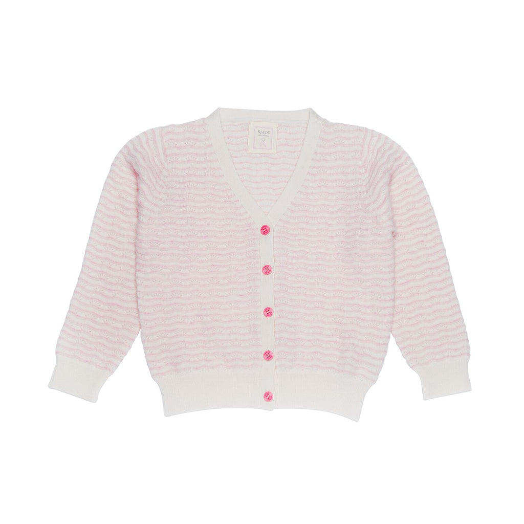Dina Girls V-necked 100% Cashmere Stripe Cardigan - Ivory with Baby Pink