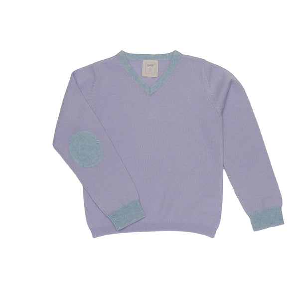 Royal Ancil Boys V-necked 100% Cashmere Sweater - Lavender Blue with Light Blue Elbow Patches