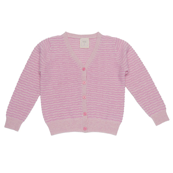 Royal Macee Girls V-necked 100% Cashmere Lace Knitting Cardigan -Lady Pink & Rosebud