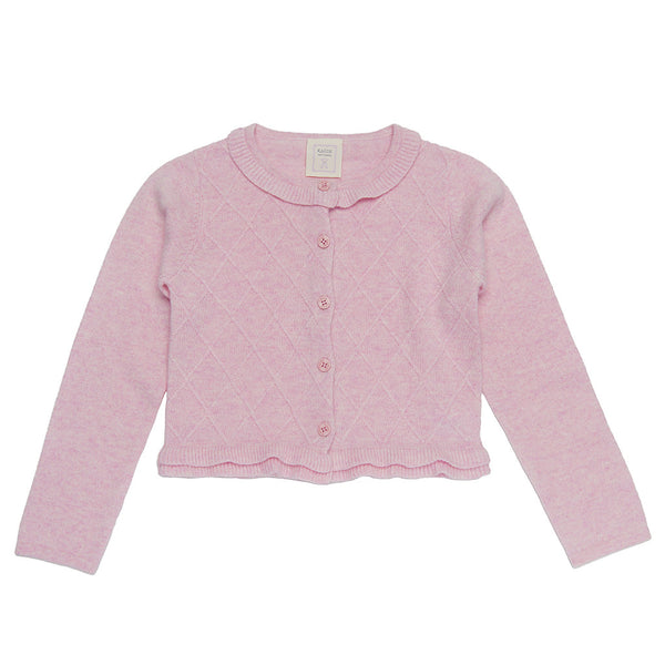 Charee Princess 100% Cashmere Girls Cardigan - Rosebud Pink *eco-friendly