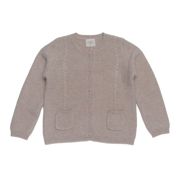 Mathieu 100% Cashmere Girls Chunky Peacoat - Beige & Baby Pink Button
