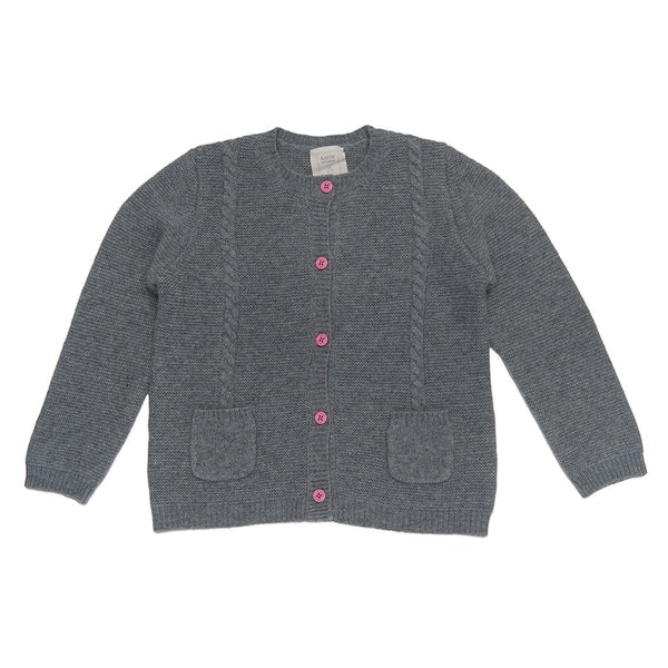 Mathieu 100% Cashmere Girls Chunky Peacoat  - Heather Grey & Candy Pink Button