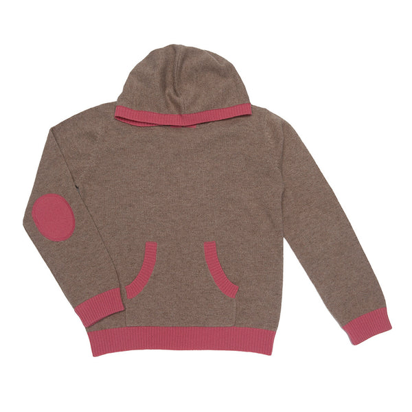 Leola Unisex 100% Cashmere Hoodie - Camel with Spice Pink