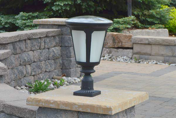solar faux stone pillar lights