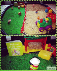 Bedtime on the farm invitation to play tuff tray idea from customer