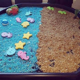 Tuff Tray Set up with Ocean Rice