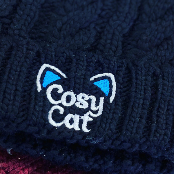 Cosy Cat Junior Cable Knit Hat