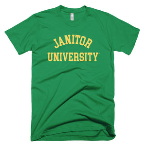 Janitor University Short-Sleeve T-Shirt, Class Colors (Kelly,Gold lettering)