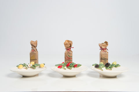 3 Handmade Sicilian Porcelains with Olive Oil