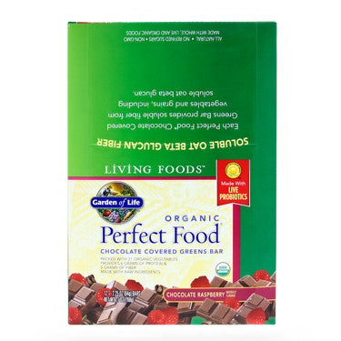Garden of Life Perfect Food Whole Food Green Bars Chocolate Raspberry 12 Bars