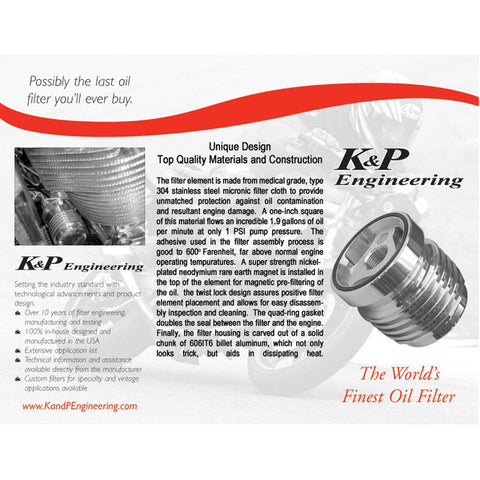 K&P #2151 Stainless Steel oil filter
