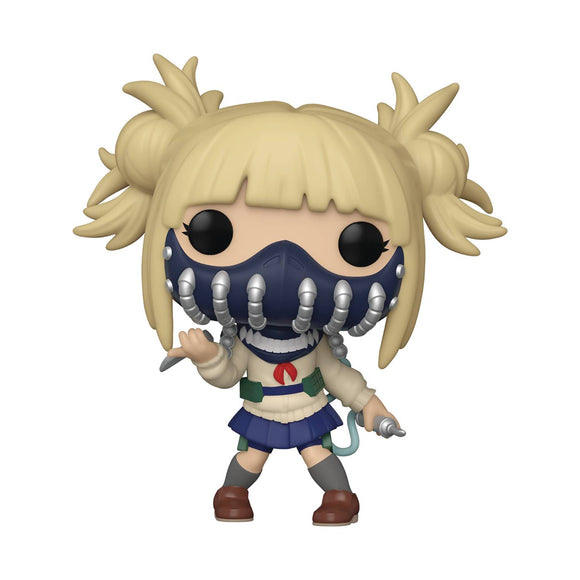 A girl with pale skin and blond hair up in messy buns holds a knife in one hand and a needle-ended pipe in the other. She wears a beige cardigan with a blue and red sailor-style ribbon collar, a blue skirt, grey socks, and brown shoes. Her nose and mouth area is covered by a navy mask with eight silver pipes looped down it.