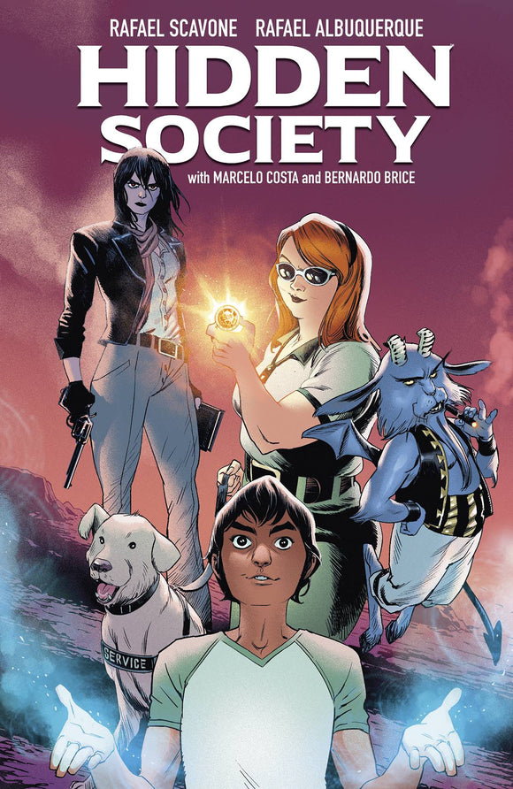 A chubby ginger girl with a service dog holds a glowing coin. Next to her are a lanky person with dark hair and a gun, a tan-skinned person with blue wisps of magic coming from their hands, and a blue goatlike creature with devil wings and tail floating and smoking a cigar.