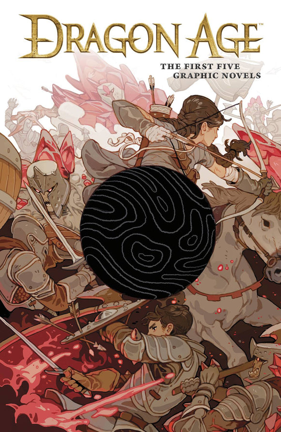 A swirled black orb blocks out the center of an image of a war, an archer on horseback fighting next to a helmeted knight who is sprouting red crystals.