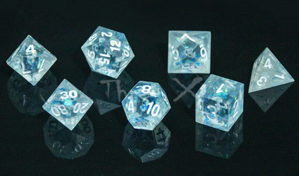A set of light blue polydice with sharp edges and white numbering. Inside are blue holographic flakes that refract the light.