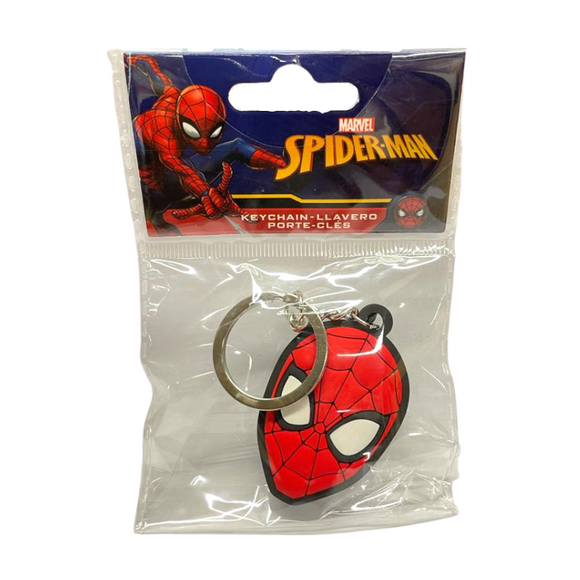 A rubber keychain of a character head. It is red with a thin black webbed design and large white eyes outlined in black.