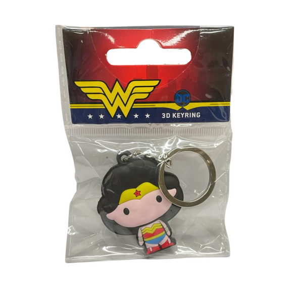 A keychain of a cartoon woman in a chibi style that has no face except black eyes. She has long black navy hair and light skin, and wears a red sleeveless top with gold detailing in the shape of an upside down w, blue pants, silver bracelets, red boots, and a yellow tiara with a red star.