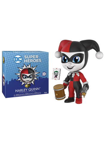 Stylised Harley Quinn figure in jester outfit holding wooden hammer and trick pistol, beside the Joker playing card.