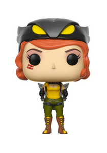 Stylised Hawkgirl figure wearing winged jetpack and mask pulled off, on head.