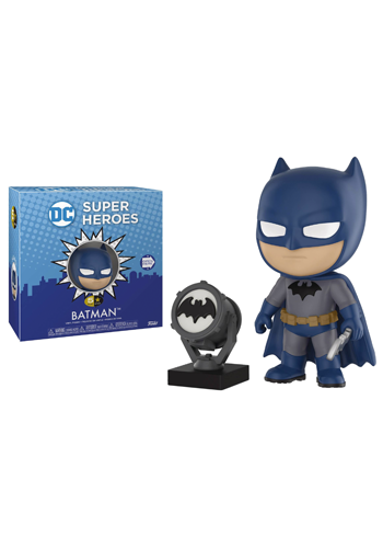 Stylised Batman figure in blue and grey outfit holding weapon, beside black and grey bat signal device.