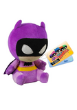 Stylised plush Batman wearing purple outfit and cape, with sad expression.