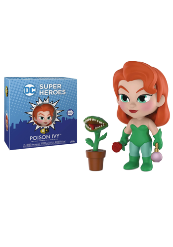 Stylised Poison Ivy figure in green outfit, holding rose and perfume bottle, beside fanged potted plant.