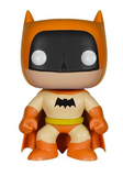 Stylised Pop Vinyl Batman wearing orange outfit and cape, with black mask and bat symbol and yellow belt.
