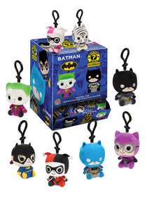 Stylised mini plushes of various Batman characters, with black keychain loops.