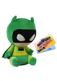 Stylised plush Batman wearing green outfit and cape, with sad expression.