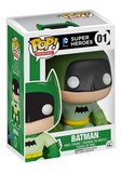 Stylised Pop Vinyl Batman wearing green outfit and cape, with black mask and bat symbol and yellow belt.