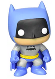 Stylised Pop Vinyl Batman wearing blue outfit and cape, with black mask and bat symbol and yellow belt.