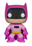 Stylised Pop Vinyl Batman wearing pink outfit and cape, with black mask and bat symbol and yellow belt.