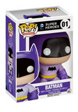 Stylised Pop Vinyl Batman wearing purple outfit and cape, with black mask and bat symbol and yellow belt.