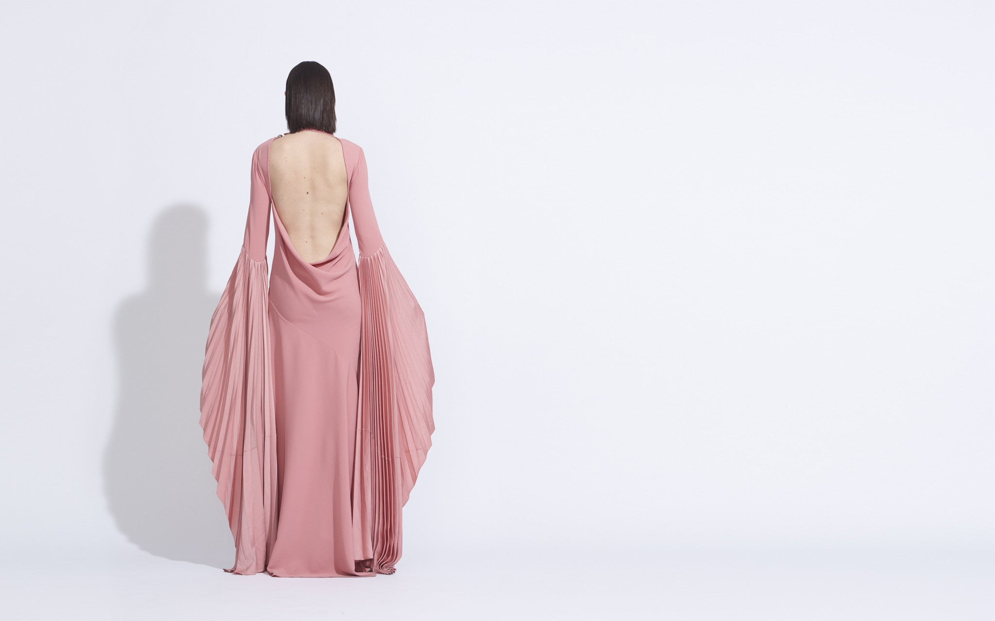 Bare Back Gown with Fan Sleeve