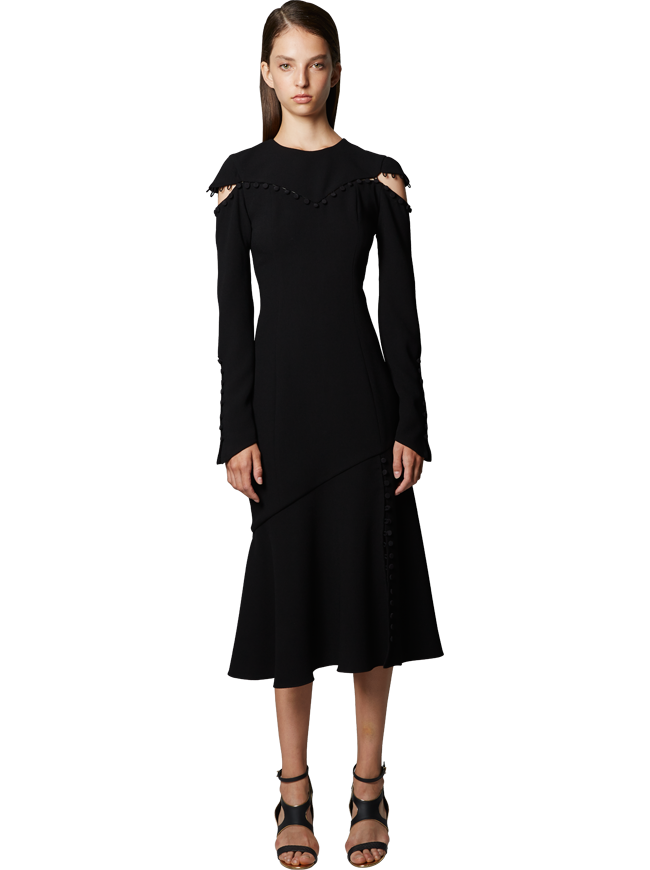 Crewneck Dress With Button Detail in Night