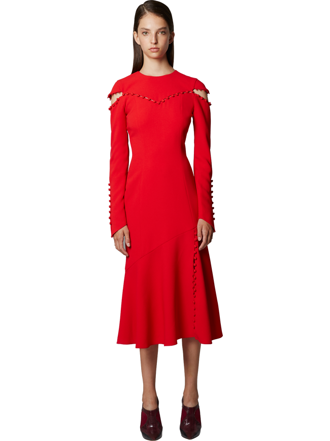 Crewneck Dress With Button Detail in Cherry