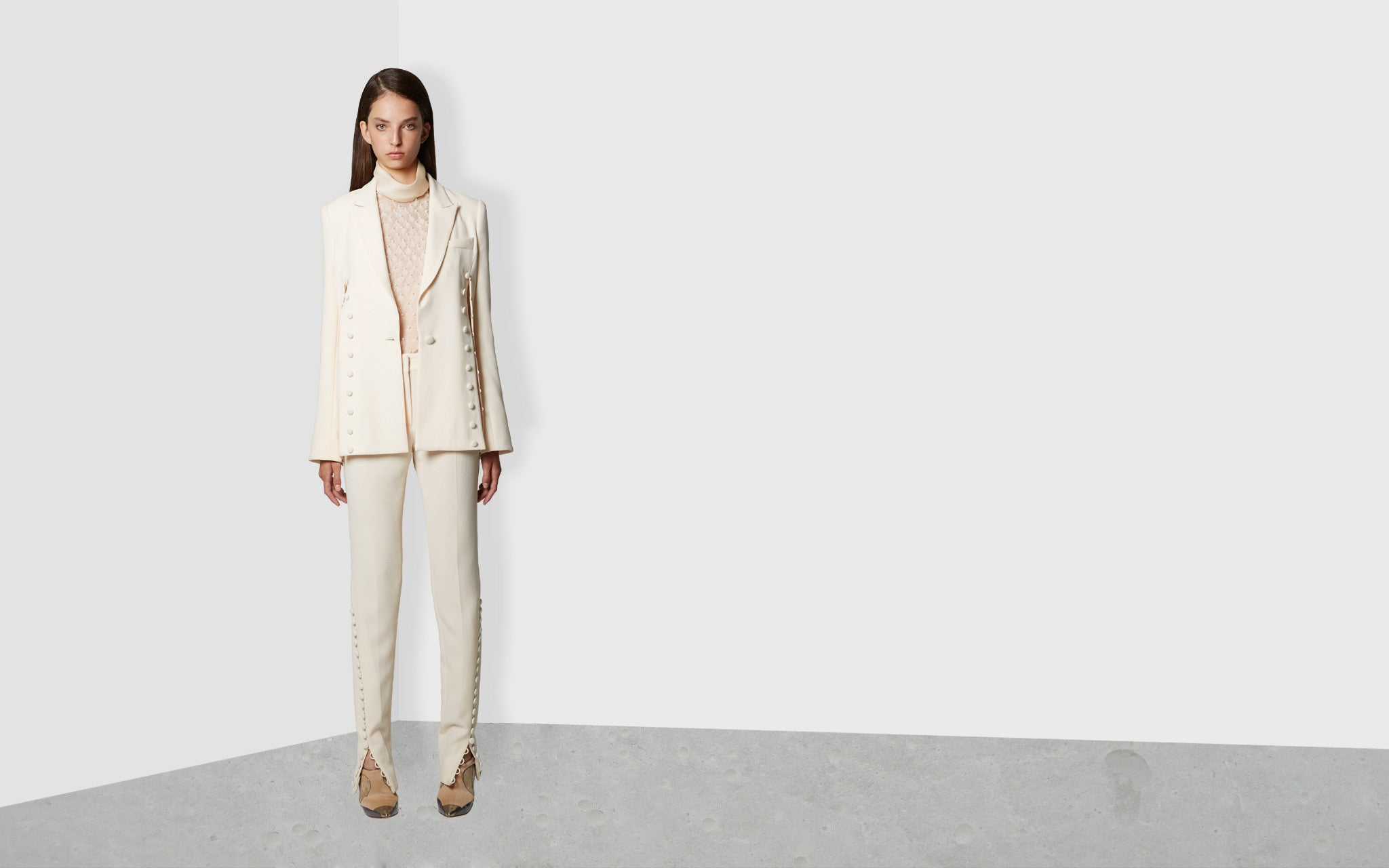 Angular Insert Jacket With Button Detail in Ivory