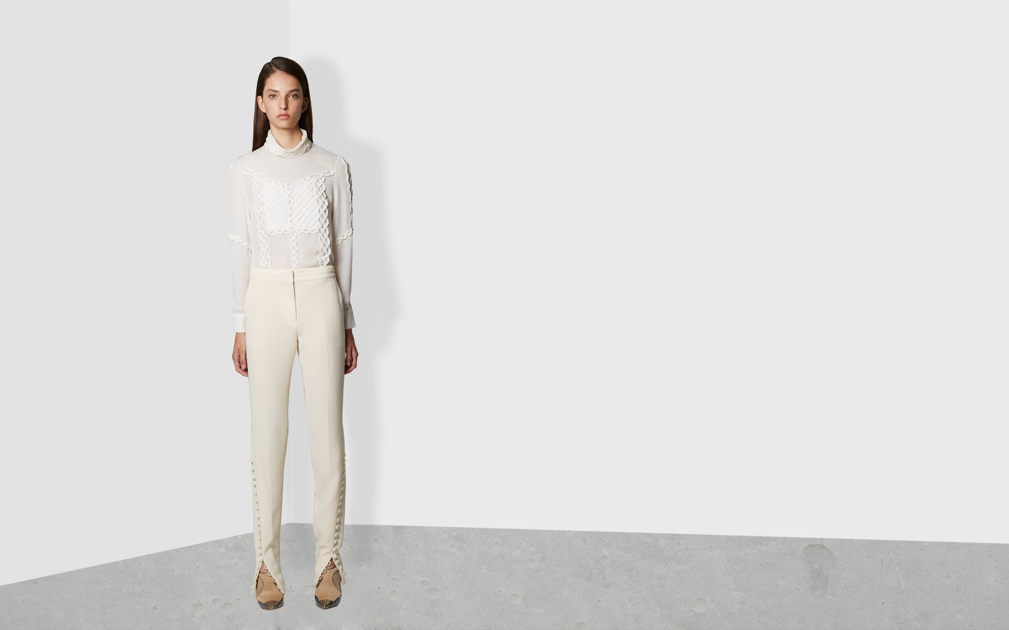 Split Hem Pants With Button Detail in Ivory