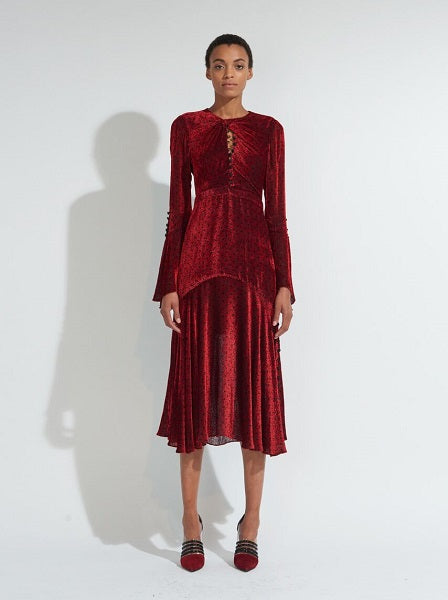 Long Sleeve Twist Dress with Keyhole