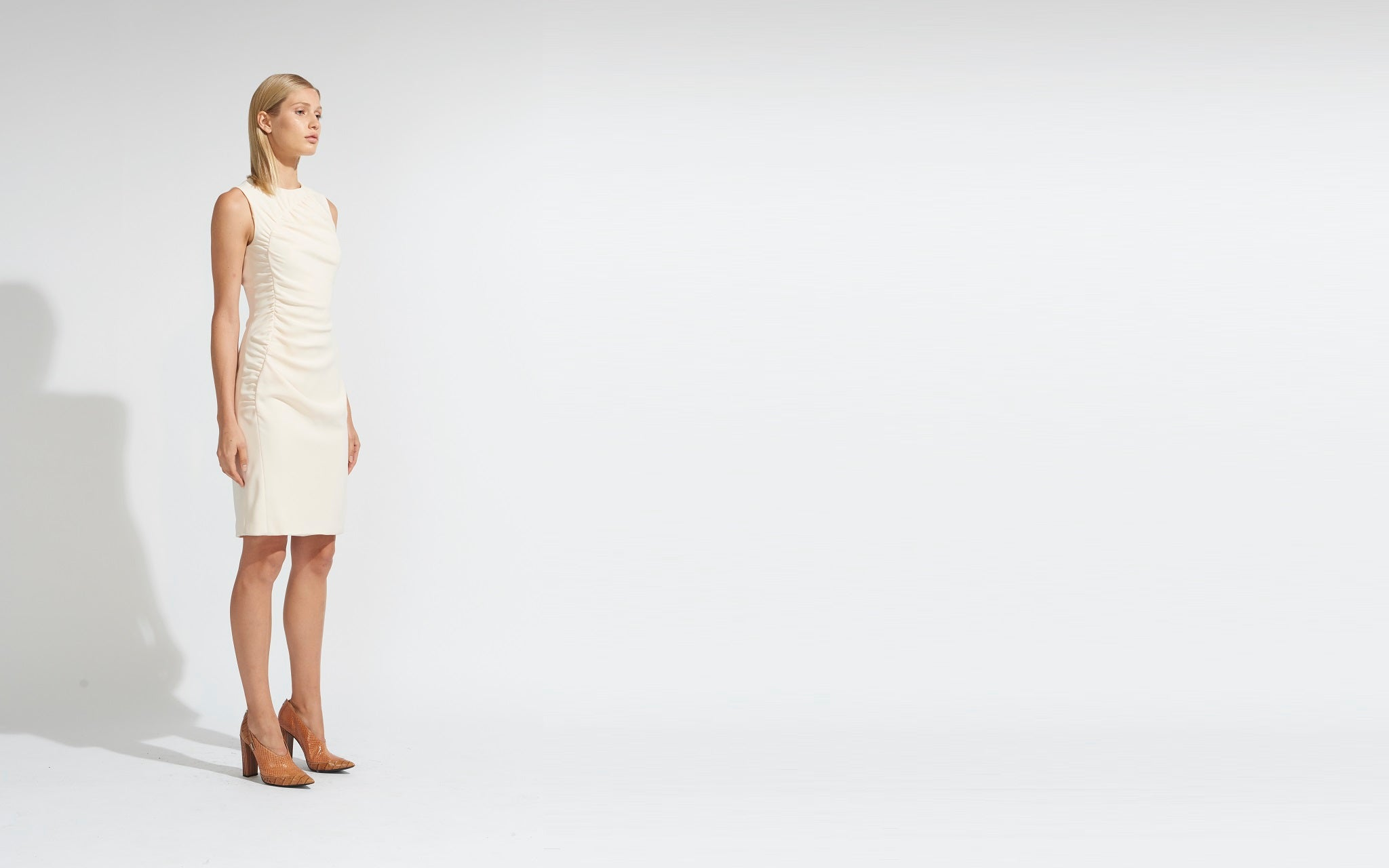 SHEATH DRESS WITH RUCHING DETAIL