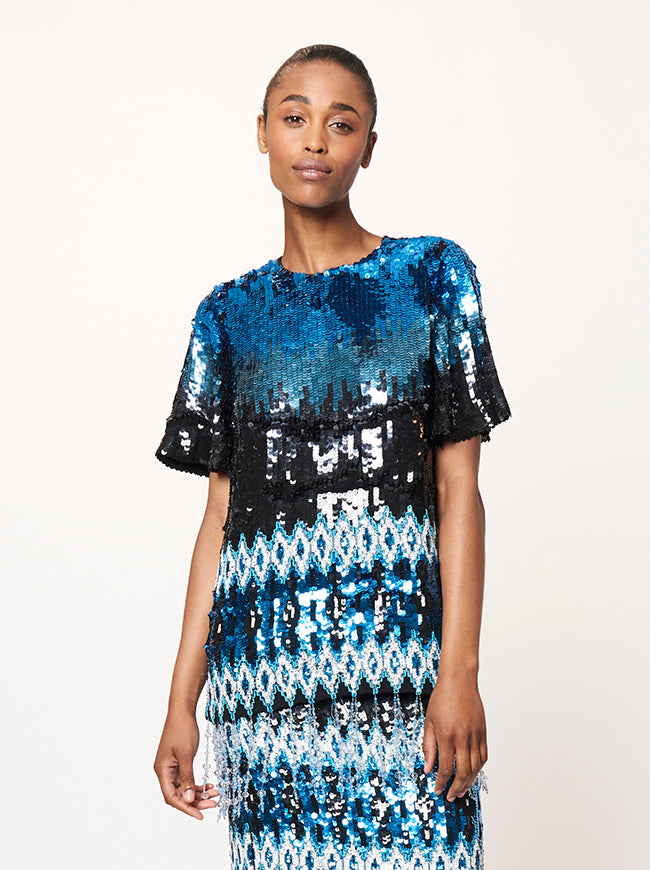 Prabal Gurung THOMPSON IKAT EMBROIDERED BLOUSE