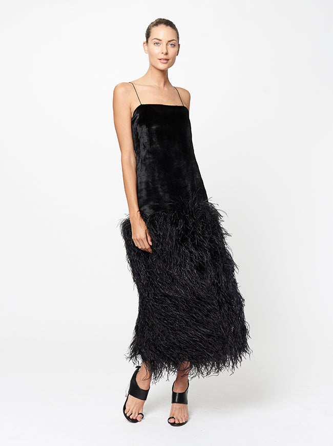 Prabal Gurung ILIANA FEATHER EMBROIDERED DRESS
