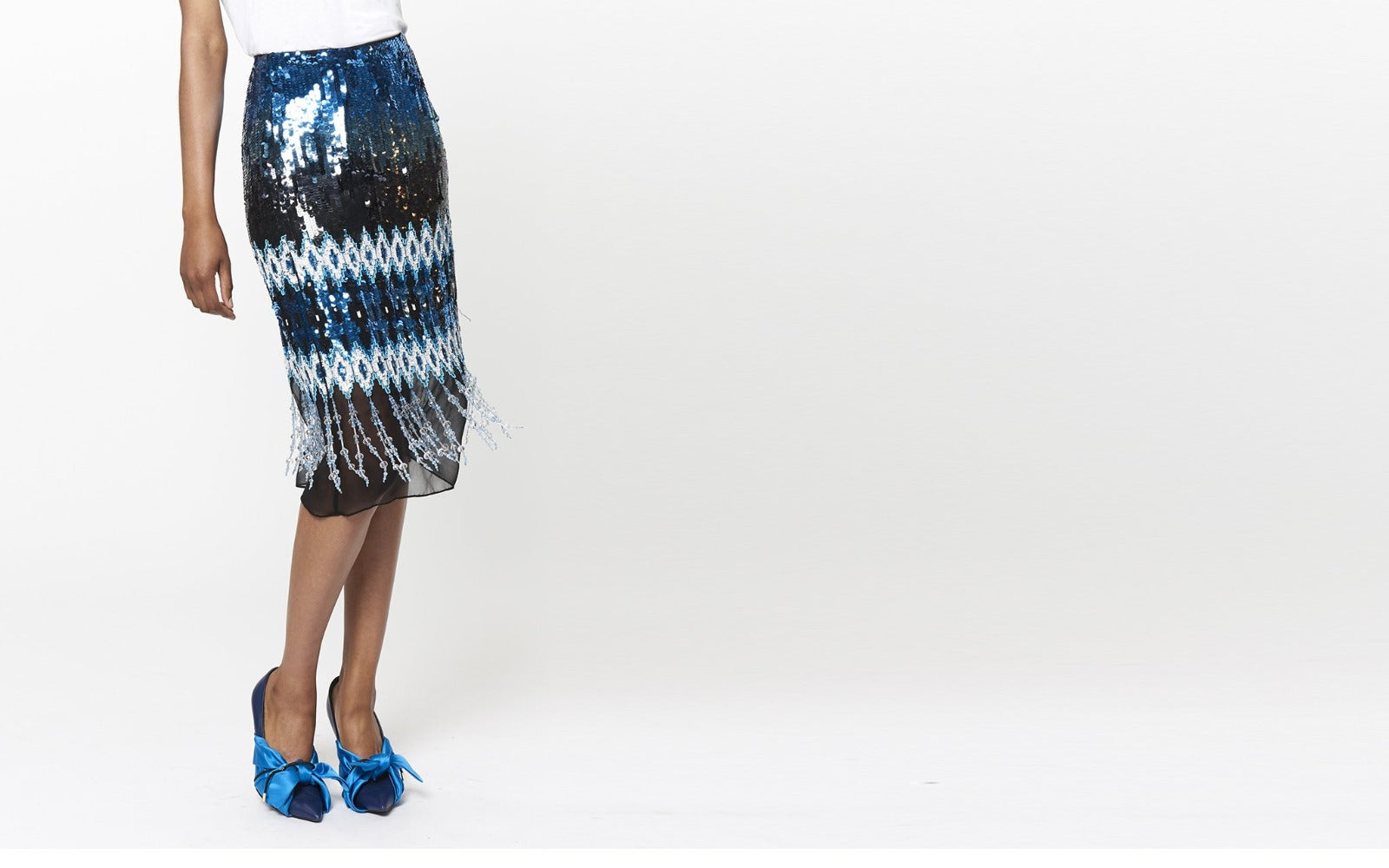KYLA IKAT EMBROIDERED PENCIL SKIRT