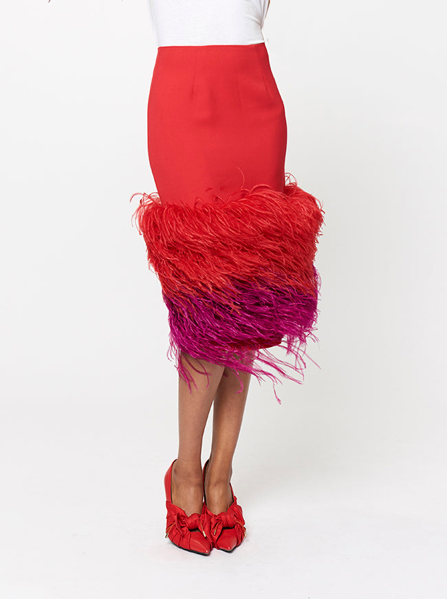 Prabal Gurung FEATHER EMBROIDERED SKIRT