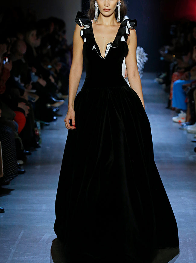 Prabal Gurung KINGSTON V NECK VELVET GOWN