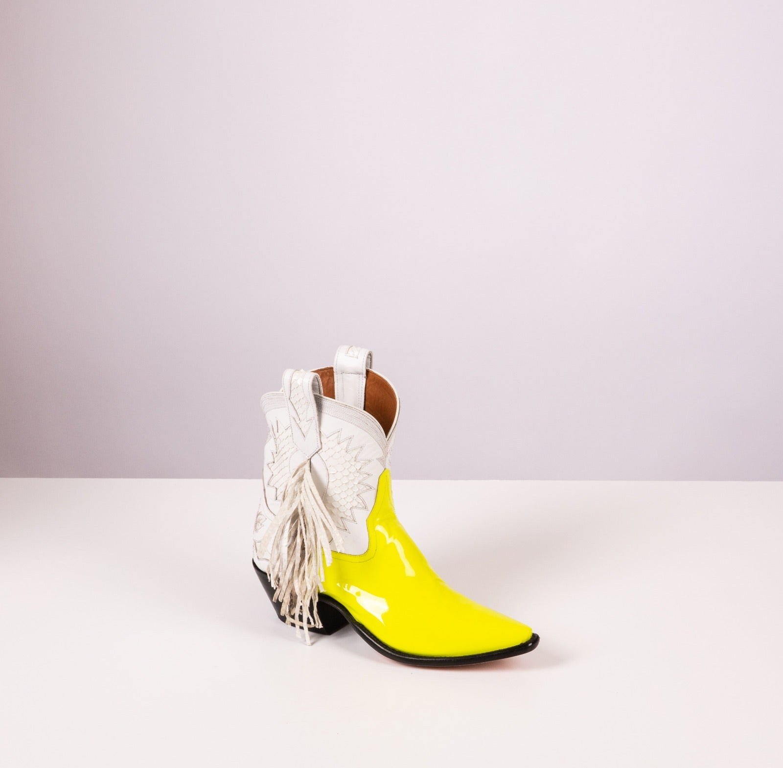Legend – Electric Yellow Patent with Snow White Leather + Python