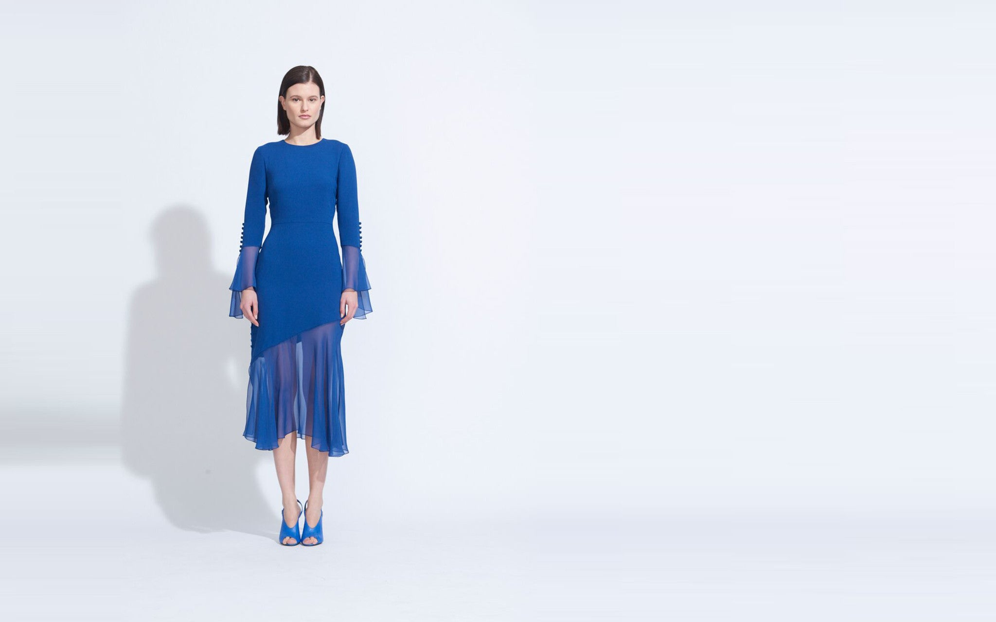 LONG SLEEVE RUFFLE CUFF DRESS, CORNFLOWER BLUE